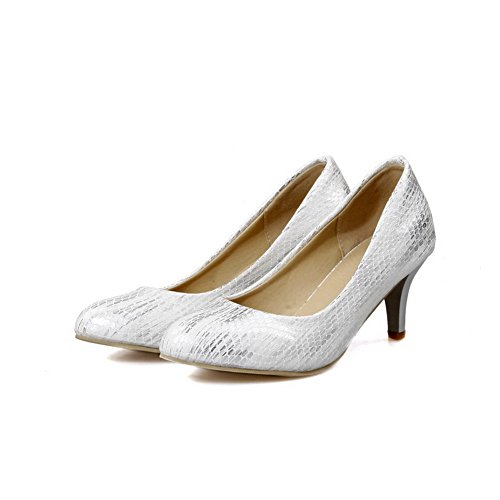Closed Toe Kitten on WeenFashion Heels Solid PU White Shoes Pumps Pull Pointed Women's gqwYX