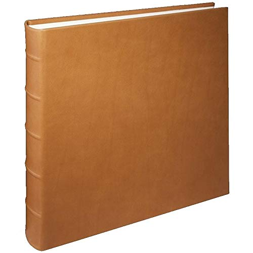 Large Genuine Italian Leather Bound Album,100 Pages, Photo Squares Included, 13-1/8'' x 13'', British Tan