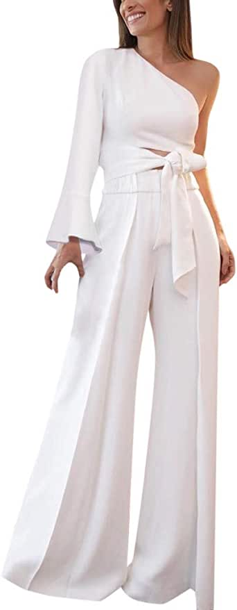 Letdown_Summer tops Women One Shoulder Top Casual Boho Long Wide Leg Two-Piece Formal for Party Outfit
