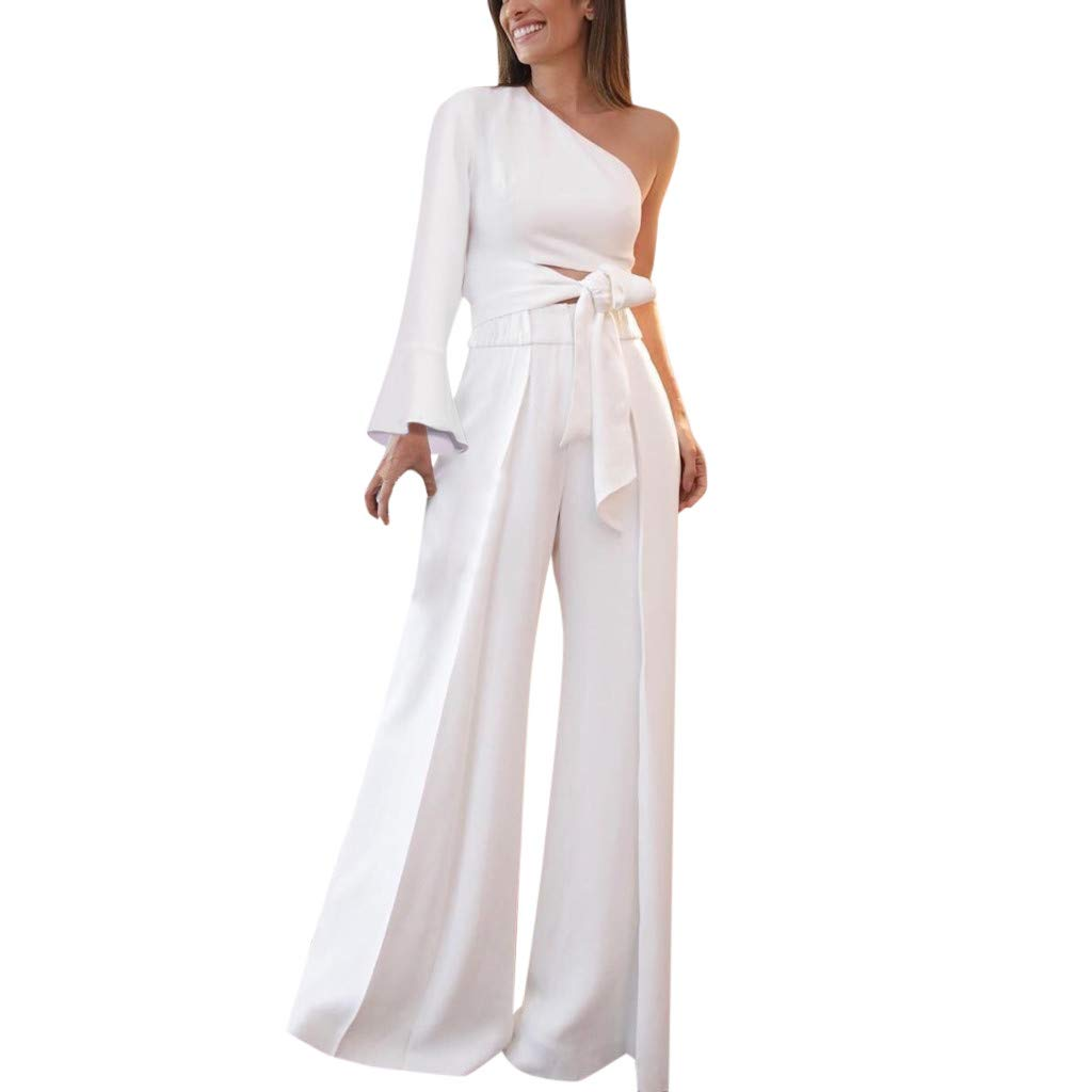 Letdown_Summer tops Women One Shoulder Top Casual Boho Long Wide Leg Two-Piece Formal for Party Outfit White