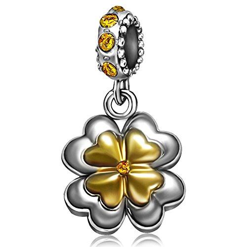 JMQJewelry Clover Birthstone Heart Love November Yellow Birthstone Dangle Charm Beads for Christams Bracelets