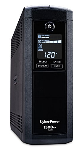 - CyberPower  CP1500AVRLCD Intelligent LCD UPS System, 1500VA/900W, 12 Outlets, AVR, Mini-Tower