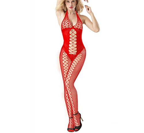 Women Sexy Fishnet Bodystocking Halter Neck Bodysuit Straps Backless Exotic Babydoll Underwear Sleepwear Jumpsuit (Free Size, red) -