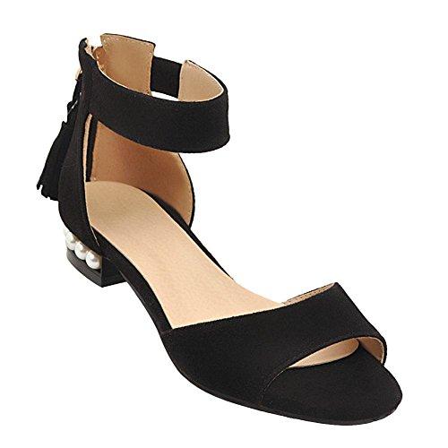 Mee Shoes Women's Dance Zip Faux Pearl Sandals Black ZA9G0j6NE