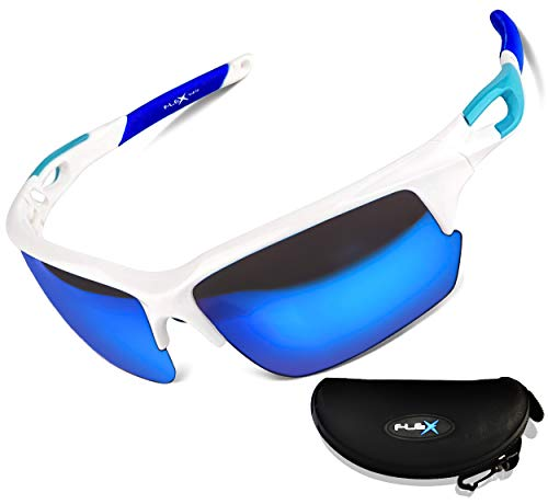 FLEX v2 – Polarized Sports Sunglasses for Women or Men, Ultra Tough & Lightweight TR90 Frame with UV 400 HD protection lens, Sunglasses for Cycling Running Driving Ski Fishing (White,Mirror Blue lens)