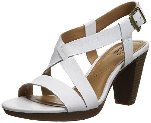 Clarks Women's Jaelyn Fog Dress Sandal, White, 8 M US