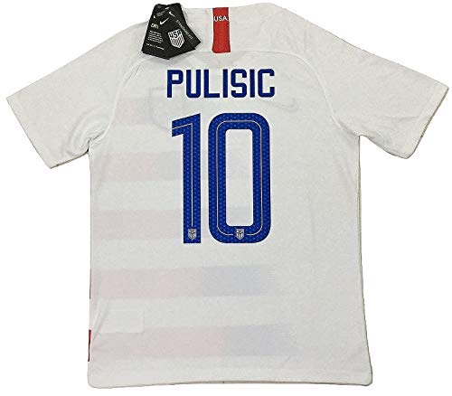 3edb32eabc8 Enevva Pulisic #10 Men's USA National Team 2018-2019 Home Soccer Jersey  White (Men's Large)