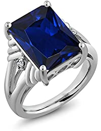 Sterling Silver Emerald Cut Blue Simulated Sapphire & White Topaz Women's Ring 10.04 cttw, (Available 5,6,7,8,9)
