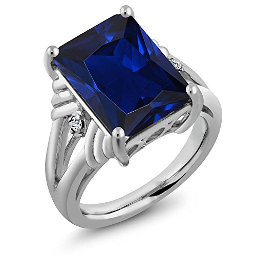 Sterling Silver Emerald Cut Blue Simulated Sapphire & White Topaz Women's Ring 10.04 cttw, (Size 9) by Gem Stone King
