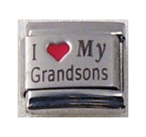 Stylysh Charms Grandsons I Love My Grandsons RH Laser Italian 9mm Link FA018