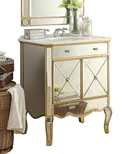 """30"""" Benton Collection Mirrored Reflection Adelisa Bathroom Sink Vanity # 507GC-RA (Gold)"""