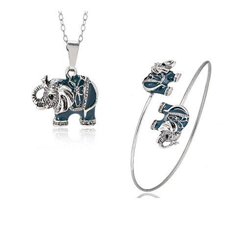 NOUMANDA Enamel Elephant Jewelry Sets for Girls Animal Elephant Necklace Earring Bracelet Bangle Set Unique Ethnic Jewelry (Sets)