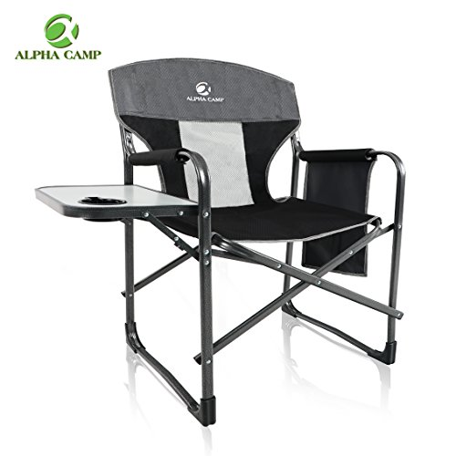 ALPHA CAMP Oversized Director's Chair with Mesh High Back and Side Table, Supports 300 lbs - (Set Wide Folding Table)