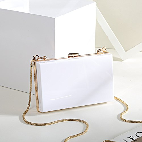 Evening Clutch Case Bag Body Cross Charm White Chain Womens Purse Acrylic Square 4qEUt6wCq
