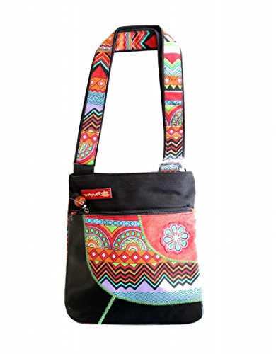 ethnics origins , Borsa Messenger  donna nero multicolore