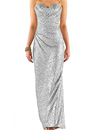 Cdress Sleeveless Strapless Sequins Prom Dresses Bridesmaid Party Gowns