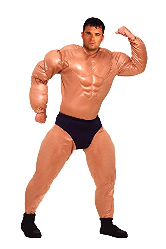 Forum Novelties Men's Mister Muscles Padded Weightlifter Costume, Multi, (Adult Muscle Suit)