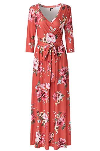 Zattcas Womens 3/4 Sleeve Floral Print Faux Wrap Long Maxi Dress with Belt (XX-Large, Rust)