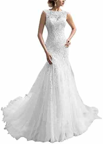 af9da43e9 A-line Lace Applique Sleeveless Chapel Long Bridal Gown Prom Dress Open  Back Wedding Dress