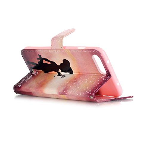 Sunroyal ® para iPhone 7 plus Funda Carcasa Cuero Tapa Leather Ultra Slim Case Cover PU Piel iPhone 7 Plus Wallet Style Flip Cierre Magnético y Función de Soporte Billetera con Tapa para Tarjetas Caja Z-17
