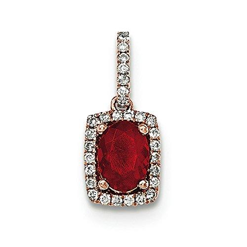 Or Rose 14carats Opale de feu Ovale et diamant Rectangle Pendentif