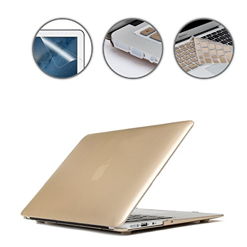 (Applefuns(TM) 4 in 1 Kit Matte Hard Shell Case + Keyboard Cover + Screen Protector + Dust Plug for Macbook Air 13