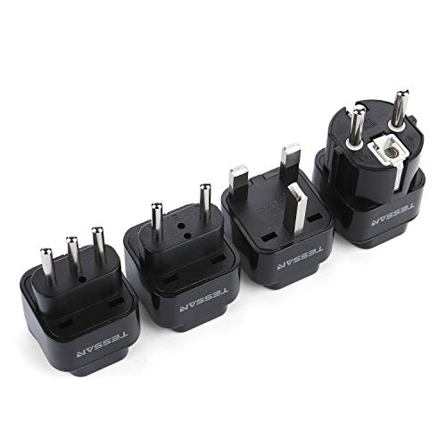 TESSAN Grounded Universal Travel Plug Adapter International European Travel Plug USA to UK/Italy/HK/GermanyFrance/ect PlugAdapter Set-4 Pack