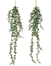 Artificial Hanging Succulent Plants – 2 Pack Faux String of Pearls Plants Unpotted Faux Hanging Plants Decor