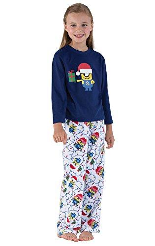 PajamaGram Officially Licensed Minion Holiday Fleece Big Girls Pajamas, Blue