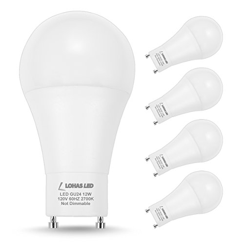 LOHAS GU24 LED Bulb A19 Light, 12W(75W-100W Incandescent Equivalent), GU24 Base LED 2700K Warm White LED Bulbs, 1200 Lumen, 240 Degree Beam Angle, Non-Dimmable for Home Lighting, 4 Pack