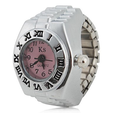 (Fashion Watches Women's Roman Numeral Style Alloy Analog Quartz Ring Watch (Assorted Colors) (Color : Pink))