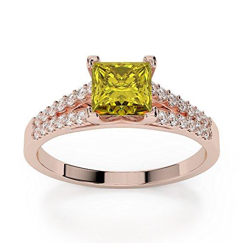 Or Rose 18carats 1CT G-H/VS sertie de diamants taille princesse Saphir Jaune et bague de fiançailles Agdr-1211