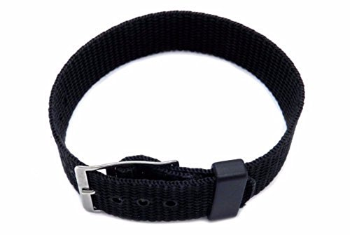 12mm Black One Piece Slip Thru Nylon Sport Watch Band Strap