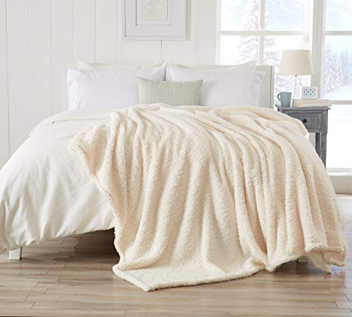 (Great Bay Home Ultra Soft, Fuzzy Sherpa Stretch Knitted Bed Blanket. Lightweight and Cozy, Elegant, Chic Fleece Blanket for Sleeping. (Full/Queen, Winter White))