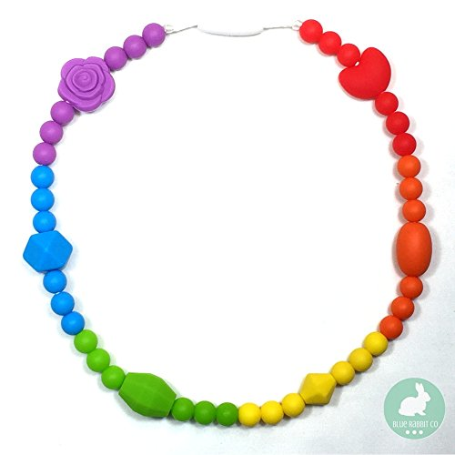 "Blue Rabbit Co Silicone Necklace for Kids & Toddlers 17"" BPA/Latex Free Oral Sensory Jewelry (Rainbow)"
