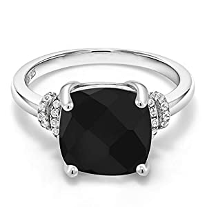 Gem Stone King Black Onyx 925 Sterling Silver Women's Ring (3.89 Cttw Cushion Checkerboard Cut)