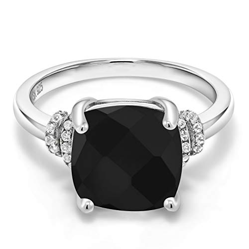 (Gem Stone King Black Onyx 925 Sterling Silver Women's Ring (3.89 Cttw Cushion Checkerboard Cut Available in size 5, 6, 7, 8,)