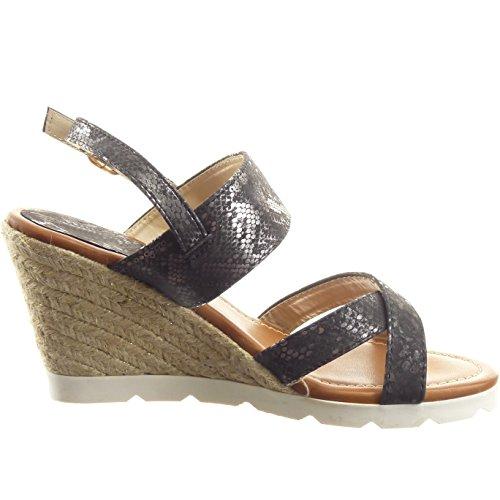 Sopily - Scarpe da Moda Espadrillas sandali Aperto alla caviglia donna lucide Pelle di serpente corda fibbia Tacco zeppa 8.5 CM - Nero