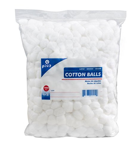 (Pivit Jumbo 100% Cotton Balls Large | Pack of 1,000 | Pure White Soft Compact Uniform in Size | Absorbent Retains Shape Wet Or Dry | For Baby Cosmetic Home and Crafts or Any Skin and Nail Care Need)