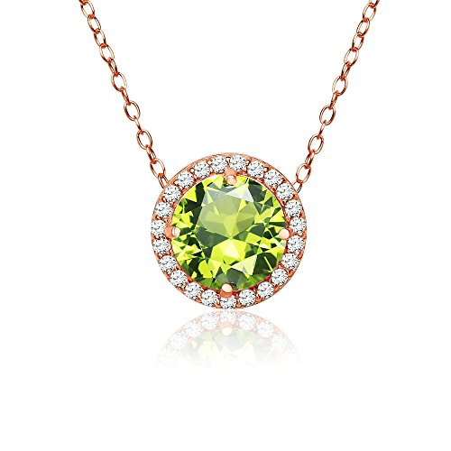 Rose Gold Flashed Sterling Silver Simulated Peridot and Cubic Zirconia Round Halo Necklace ()