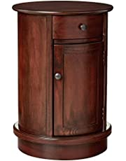 Décor Therapy Round Side Table with 1 Door and Drawer