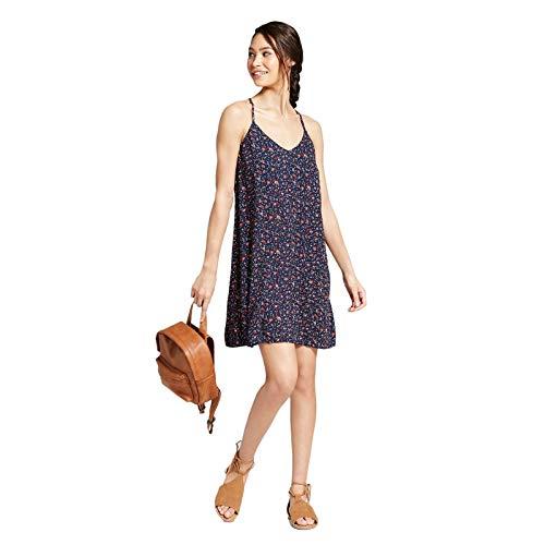 (Xhilaration Women's Floral Print Sleeveless Strappy V-Neck Shift Dress Moonlight Bue L)