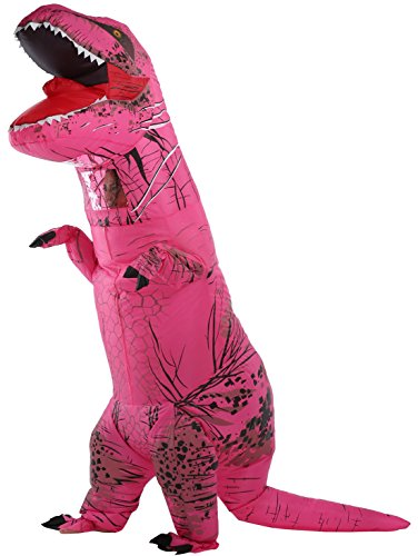 Perfect Jurassic park dinosaur giant t-rex dinosaur inflatable costumes for Adults Hot Pink AS
