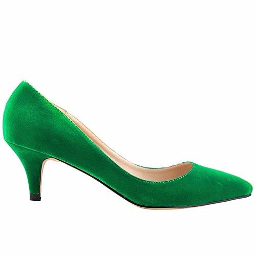 Loslandifen Scarpe Basse Da Donna Con Tacco Basso In Pelle Scarpe A Punta Con Pompino Ve-verde