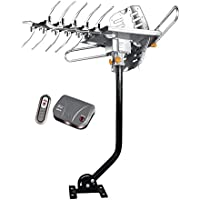 NEXspark 2608 Over The Air Outdoor Antenna HDTV UHF / VHF / FM Radio with J-Pole and Motorized Control Box, Remote Control, and Dual TV Outputs