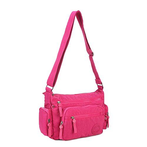 Foino Waterproof Shoulder Bag Women Cross Body Bag Lightweight Messenger Bag Travel Crossbody Bag Fashion Casual Side Pack for Girls Satchel Red 1