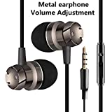 Earbuds Upgraded with Volume Control Turbo Design Earphones with Microphone Metal Earbuds Stereo Super Bass Headset Sport Running Headphones with Volume Control, Mic and Mute Button
