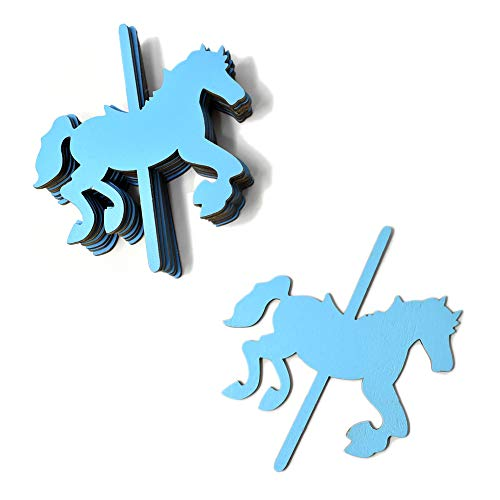 Homeford Large Carousel Horse Wooden Baby Favors, 4-3/4-Inch (Blue)