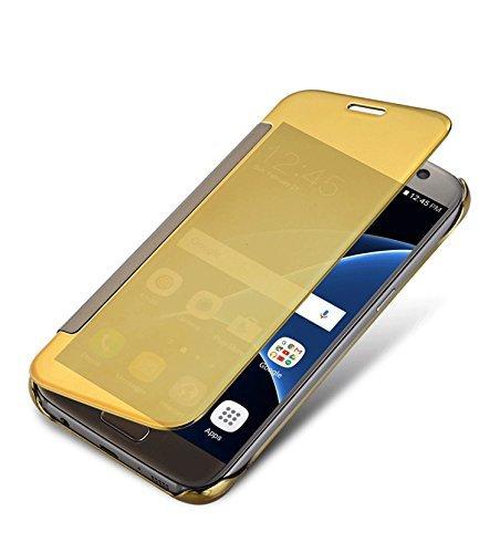 Johra Plastic Flip Cover for Samsung Galaxy S7 Edge  Gold