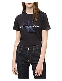 Calvin Klein - Playera de Manga Corta para Mujer con Logotipo Monograma